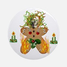 Flaming Wormy Gingerbread Round Ornament