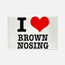 I Heart (Love) Brown Nosing Rectangle Magnet (10 p