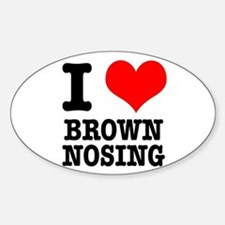 I Heart (Love) Brown Nosing Oval Decal