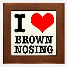 I Heart (Love) Brown Nosing Framed Tile