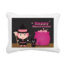 Cute Witch and Black Cat Rectangular Canvas Pillow