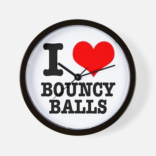 I Heart (Love) Bouncy Balls Wall Clock