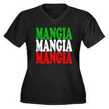 Mangia Women's Plus Size Dark V-Neck T-Shirt