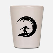 tribal surfing design Shot Glass