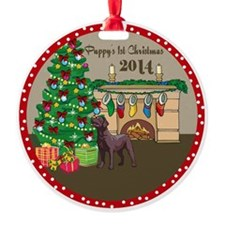 2014 Chocolate Labs 1St Christmas Ornament