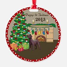 2013 Chocolate Lab 1St Christmas Ornament