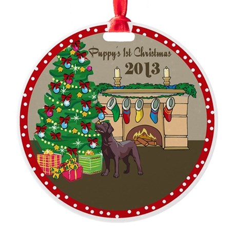 2013 Chocolate Lab 1St Christmas Round Ornament