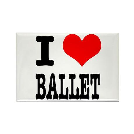 I Heart (Love) Ballet Rectangle Magnet (10 pack)