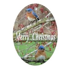 Bluebirds Oval Ornament