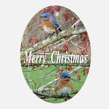 Bluebirds Oval Ornament