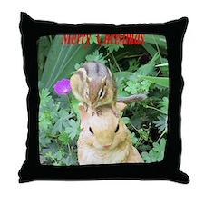 Chipmunk and garden bunny Throw Pillow
