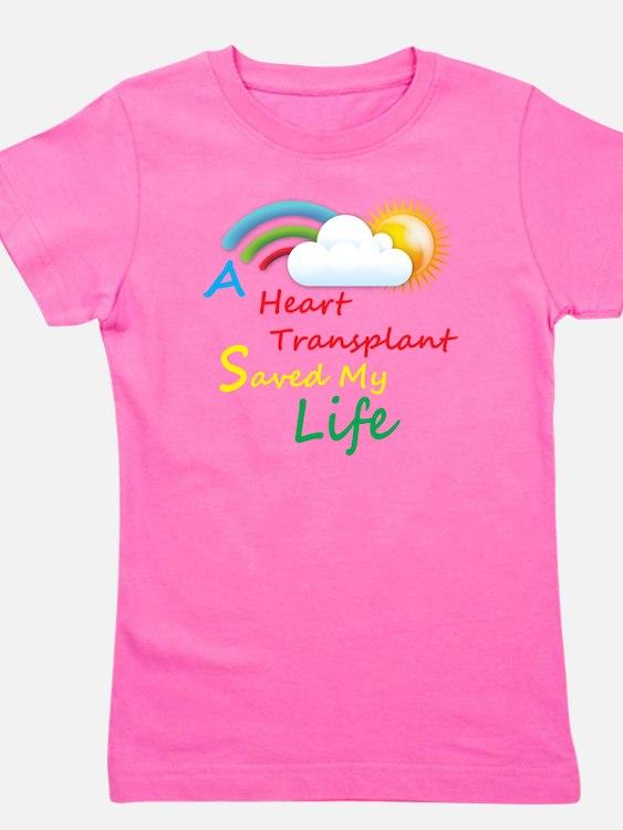 Heart Transplant Rainbow Cloud Girl's Tee