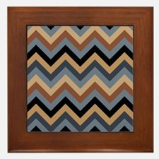 Beige Brown blue black  chevrons Framed Tile