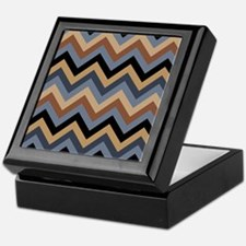 Beige Brown blue black  chevrons Keepsake Box