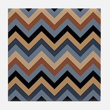 Beige Brown blue black  chevrons Tile Coaster
