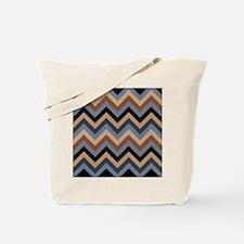 Beige Brown blue black  chevrons Tote Bag