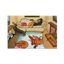 domestic dachshunds Rectangle Magnet