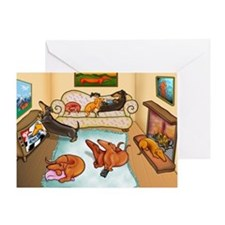 domestic dachshunds Greeting Card