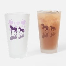 Horse family Drinking Glass