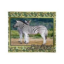 Zebra Christmas Card Throw Blanket