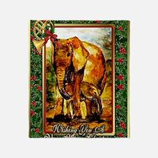 Elephant Christmas Card Throw Blanket