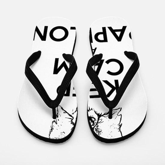 Keep Calm and Papillon dark Flip Flops