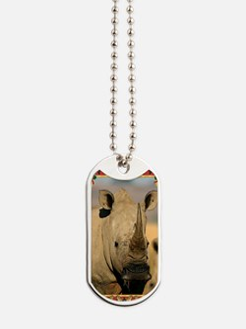 Rhinoceros Christmas Card Dog Tags