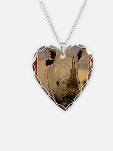 Rhinoceros Christmas Card Necklace Heart Charm