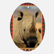 Rhinoceros Christmas Card Oval Ornament