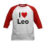 I Love Leo (Front) Kids Baseball Jersey