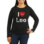 I Love Leo (Front) Women's Long Sleeve Dark T-Shir