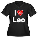 I Love Leo (Front) Women's Plus Size V-Neck Dark T
