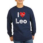 I Love Leo (Front) Long Sleeve Dark T-Shirt