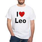 I Love Leo (Front) White T-Shirt