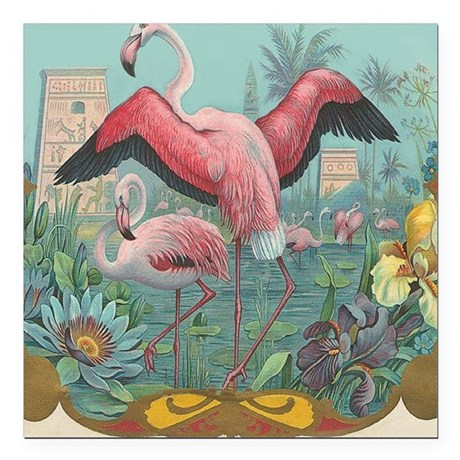 "Vintage Flamingo Square Car Magnet 3"" x 3"""