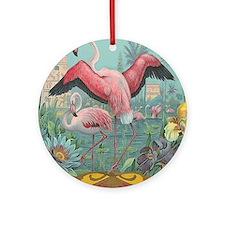 Vintage Flamingo Round Ornament
