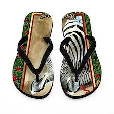 Zebra Christmas Card Flip Flops