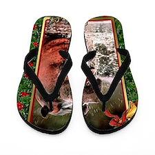 Hippopotamus Christmas Card Flip Flops