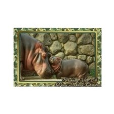 Hippopotamus Christmas Card Rectangle Magnet