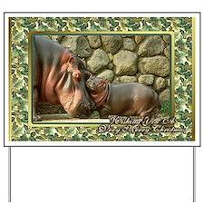 Hippopotamus Christmas Card Yard Sign