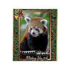 Red Panda Christmas Card Throw Blanket