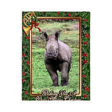 Rhinoceros Christmas Card Twin Duvet