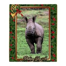 Rhinoceros Christmas Card Throw Blanket
