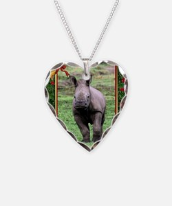 Rhinoceros Christmas Card Necklace Heart Charm