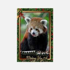 Red Panda Christmas Card Rectangle Magnet