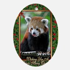 Red Panda Christmas Card Oval Ornament