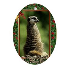 Meerkat Christmas Card Oval Ornament