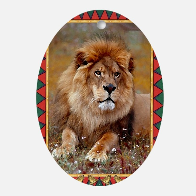 African Lion Christmas Card Oval Ornament