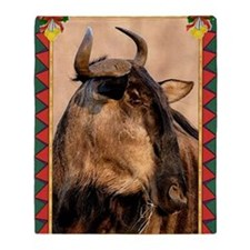 Wildebeest Christmas Card Throw Blanket