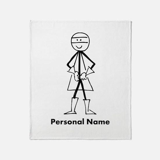 Personalized Super Stickman Throw Blanket